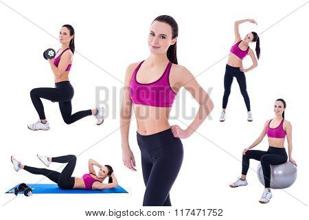 Slim Woman In Sports Wear Doing Fitness Exercises Isolated On White