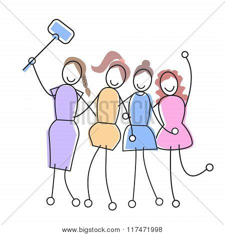 Group Of Girls Taking Selfie With Stick Social Network Communication