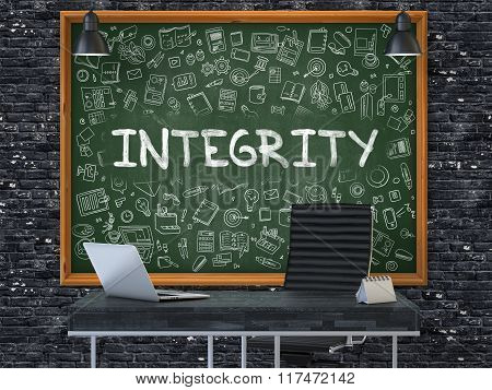 Chalkboard on the Office Wall with Integrity Concept.