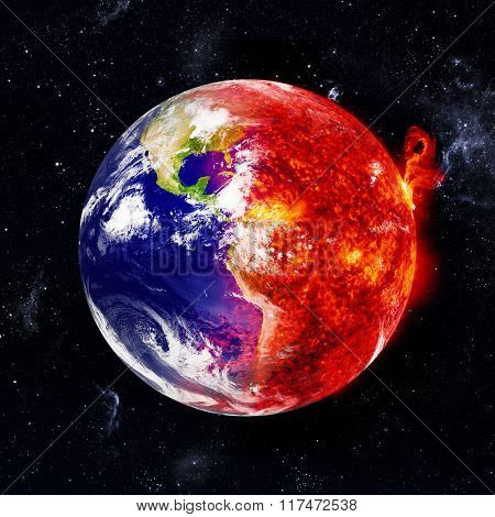 Earth in space and one part are burns. Elements of this image furnished by NASA