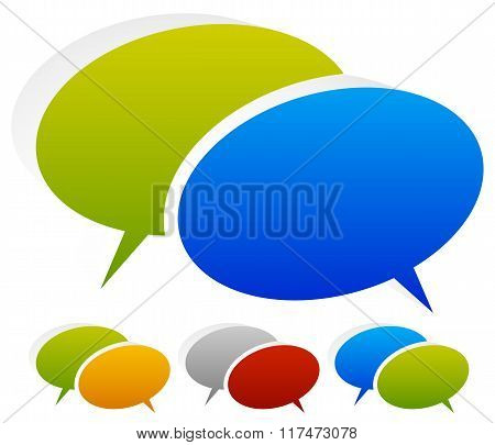 Two Overlapping Speech, Talk Bubbles In More Color Combinations