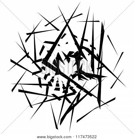 Abstract Monochrome Graphic With Scattered, Random Shapes