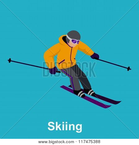People Skiing Flat Style Design