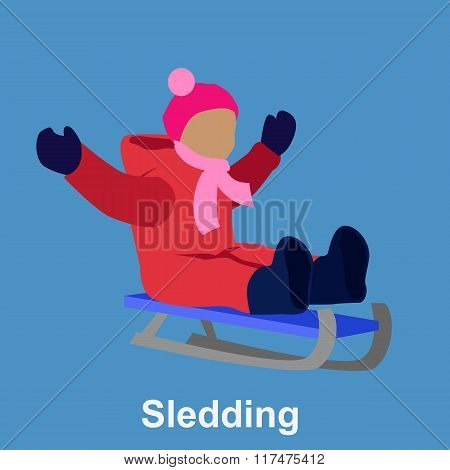 Sledding children design flat style