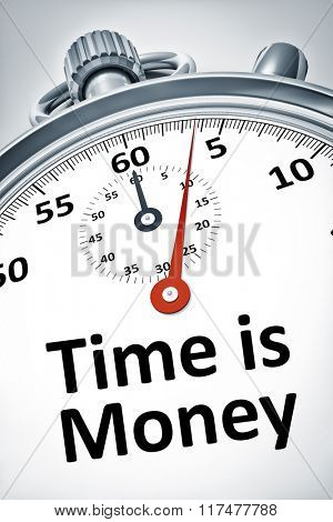 An image of a stopwatch with text time is money