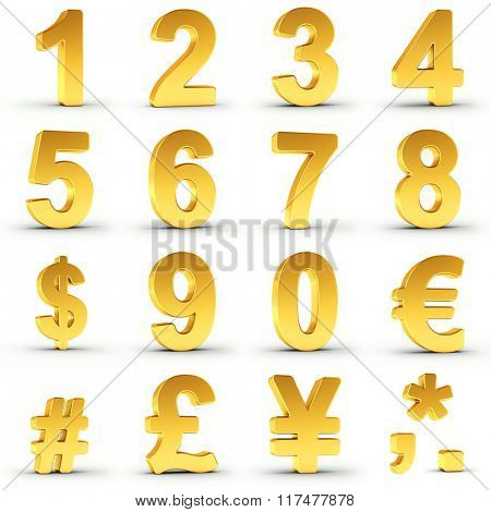 Set of golden numbers and currency symbols over white background with clipping path for each item for fast and accurate isolation. Ideal for price tags, circulars and adverts.
