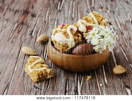 Cookies of cereals with fruit and nuts