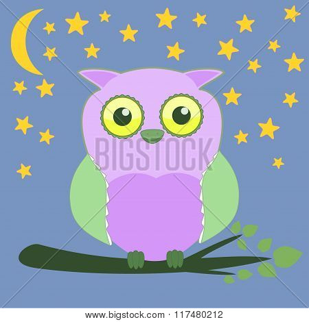 Cartoon baby owl on branch card Night sky background with moon and stars pattern