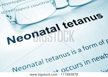 Paper with words  Neonatal tetanus disease.
