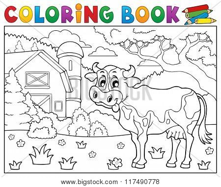 Coloring book cow near farm theme 2 - eps10 vector illustration.