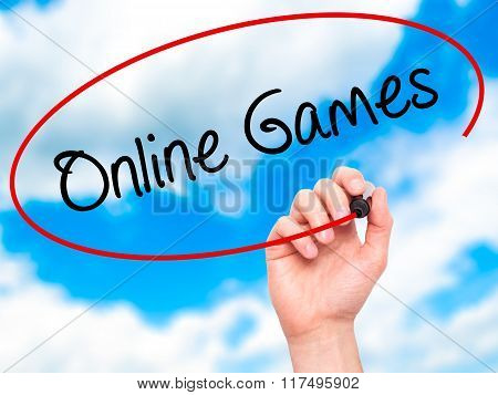 Man Hand Writing Online Games With Black Marker On Visual Screen