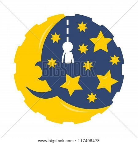 Cartoon month with stars logo