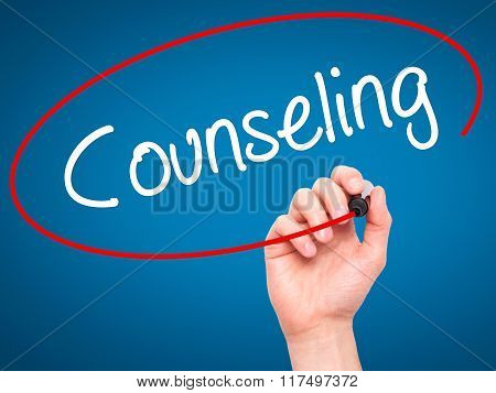 Man Hand Writing Counseling With Black Marker On Visual Screen