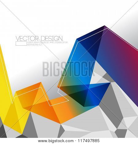 origami inspired transparent multicolor folded paper and polygon elements corporate design