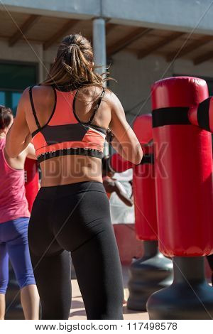 Young Girl And Punching Bags, Boxing & Fitness
