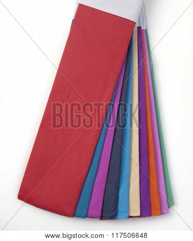 colored crepe paper isolated on white background