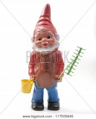 plastic dwarfs  toy isolated on white background
