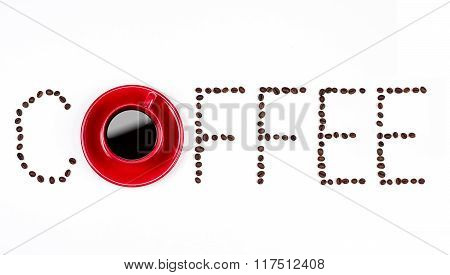 Coffee Text With Coffeebeans And Red Cup