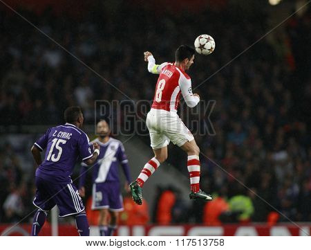 LONDON, ENGLAND - NOV 04 2014: Arsenal's Mikel Arteta during the UEFA Champions League match between Arsenal from England and Anderlecht from Belgium played at The Emirates Stadium.