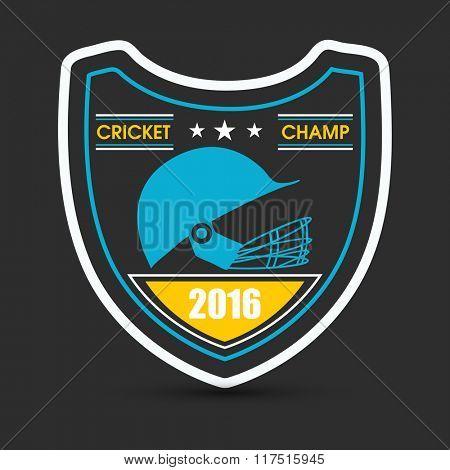 Creative sticker, tag or label design with illustration of batsman helmet for Cricket Sports concept.