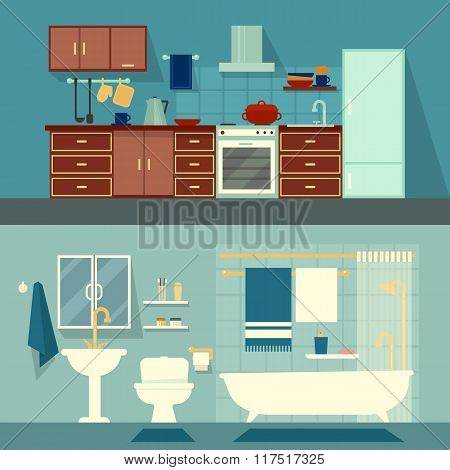 Vector flat illustration for rooms of apartment, house. Home interior design kitchen and bath modern