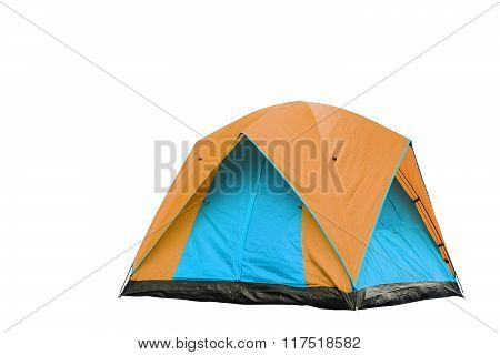 Isolated Orange And Blue Dome Tent