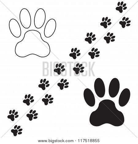 Footprints of dog isolated on white background. Animal paw icon or sign. Vector illustration.