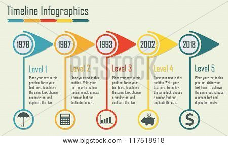 Timeline Infographics template whith icons and text. Isolated design elements. Colorful vector illus