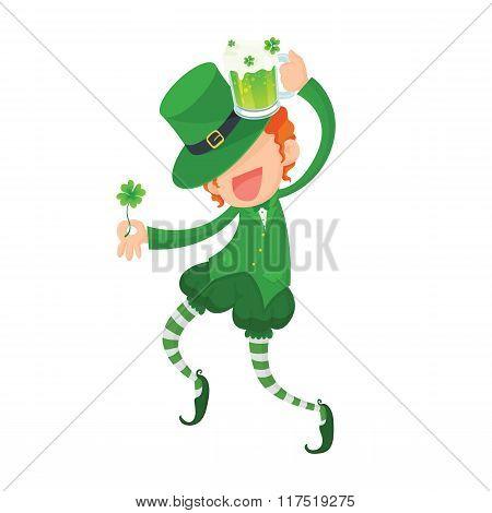 Happy Leprechaun Holding Clover and Green Beer.
