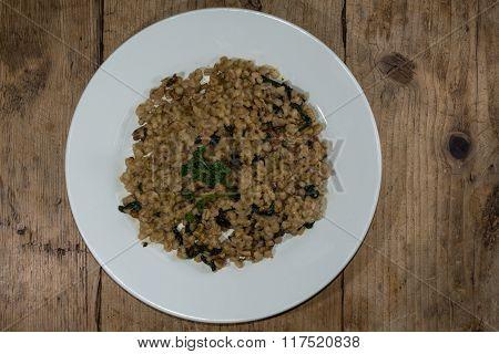 Barley Mascarpone Walnut Risotto From Above.