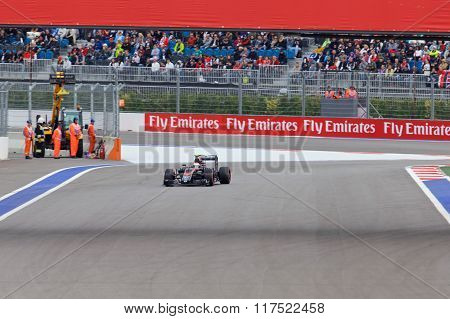 Jenson Button of McLaren Honda. Formula One. Sochi Russia