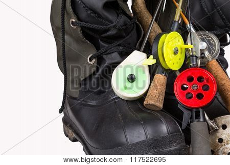 Ice Fishing Tackles And Winter Boots