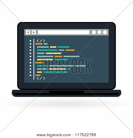 Programming And Coding Icon - Website Development On Laptop Screen