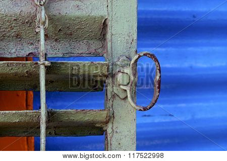 Metal Venetian Blind And A Blue   In La Boca Buenos Aires
