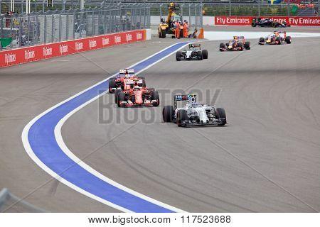 Valtteri Bottas Williams Martini Racing leads Kimi Raikkonen Scuderia Ferrari
