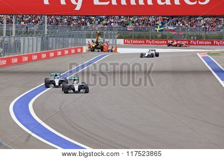 Lewis Hamilton of Mercedes AMG Petronas F1 Team leads Nico Rosberg Mercedes AMG Petronas Formula 1 T