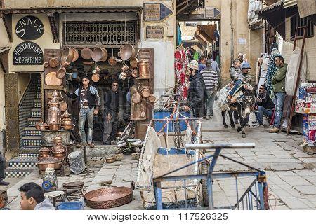 Place Seffarine. Fez El Bali Medina. Fez, Morocco. Africa.