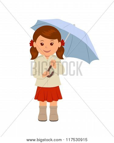 Cute girl under an umbrella. Isolated character of a young woman in a red skirt and a beige jacket u