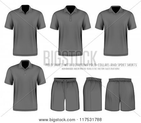 Men's short sleeve polo shirt with different polo-collars and sport shorts. Vector illustration. Fully editable handmade mesh.