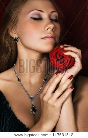 Beauty with red rose