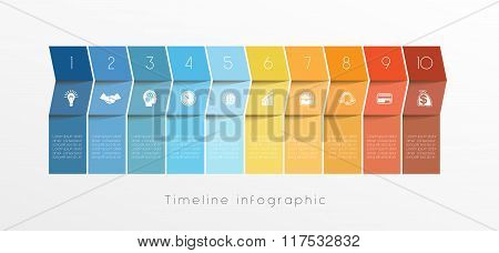 Template Timeline Infographic Design For Ten Position