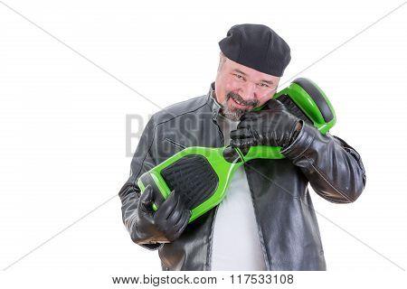 Man Hugging His Hoverboard