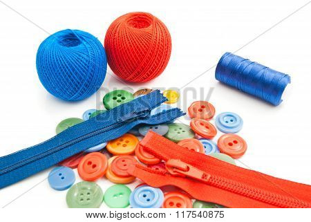 Buttons, Tangles Of Thread And Colorful Zippers