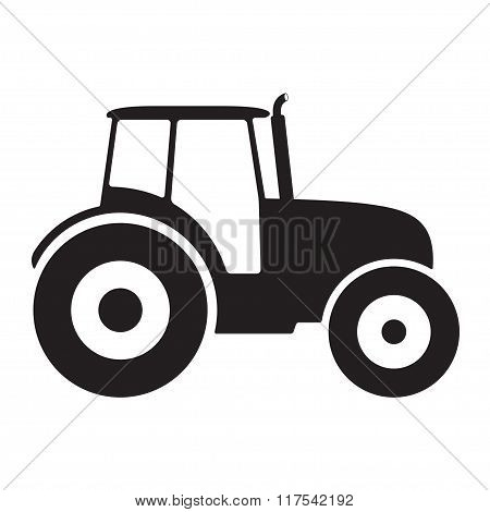 Tractor icon or sign isolated on white background. Transportation flat icon. Vector illustration.