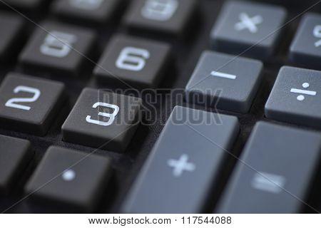 Closeup of number and symbol keys