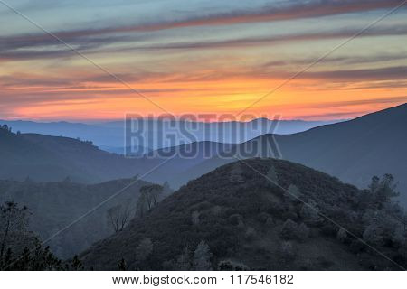 Sunset of Rolling Hills. Mt Diablo State Park, California, USA. Views near Eagle Peak of the Diablo Range in Contra Costa County.
