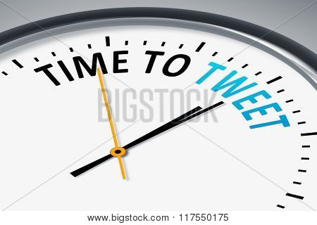 An image of a typical clock with text time to tweet