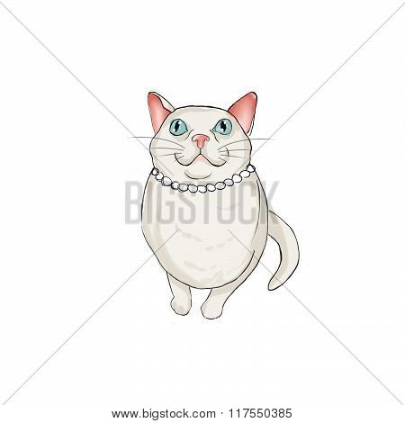 Female White cat wearing a pearls necklace