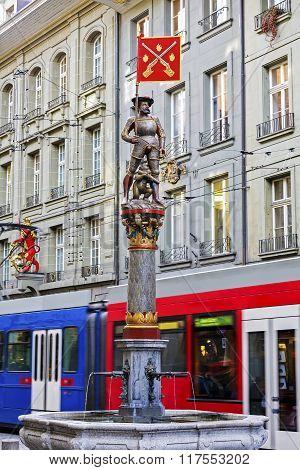 Musketeer Fountain In Bern In Switzerland