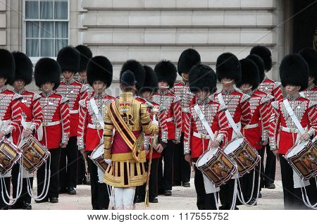 London UK-July 06 soldiers of the royal guard perform during the trooping of the colour ceremony outside Buckingham Palace July 06.2015 in London